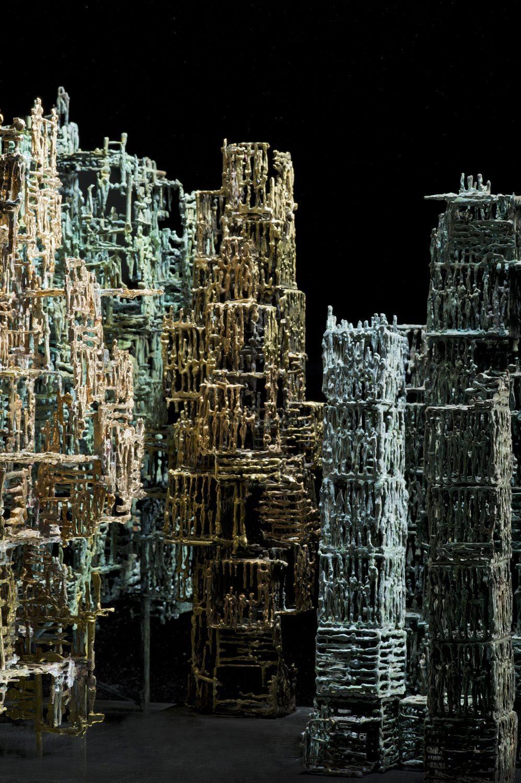 immeuble hlm cube bronze sculpture art cage construction