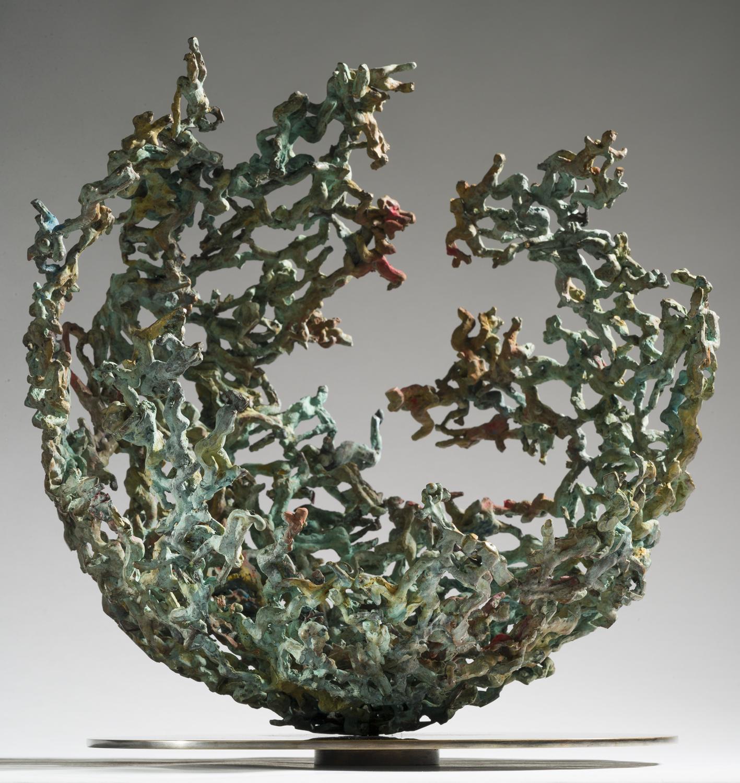 Sphère planète monde bronze sculpture art fissure comète